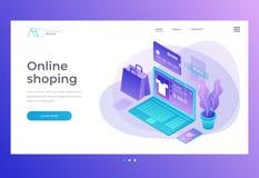 homepage Titelrad för website och mobilwebsite Begreppet av direktanslutet shoppar, online-lagret Överföringspengar från kort royaltyfri illustrationer