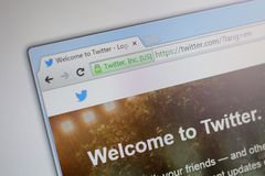 Homepage of Twitter.com. CZECH REPUBLIC - JULY - 28: Homepage of Twitter.com in the Czech Republic on Tuesday, July 28, 2015 royalty free stock images