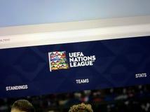 Homepage UEFA narody Ligowi zdjęcie stock
