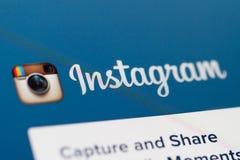 Homepage und Logo Instagram Lizenzfreie Stockfotos
