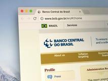 Homepage van de Centrale Bank van Brazilië stock foto