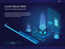 Homepage voor een website met isometrische samenstelling Smartphone, chips, aanstekende gevolgen Royalty-vrije Stock Foto