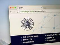 Homepage Węgierski National Bank zdjęcie stock