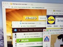 Homepages Albert Heijn, Aldi, Lidl i Olbrzymi AH, Plus, Zdjęcie Stock