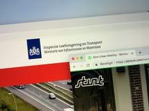 Homepages Holenderska Ludzka środowiska, transportu okresu zatrudnienia i inspektorata Miastowa ruchliwość i zdjęcie stock