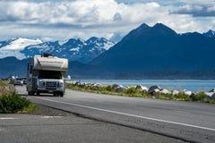 HOMER, ALASKA - AUGUST 3, 2018: RV recreational vehicle drives d