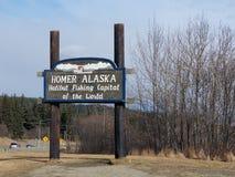 Homer Alaska Lands End. Sign entering Homer Alaska Royalty Free Stock Image