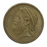 Homer, ancient Greek poet. Portrait of Homer, legendary ancient Greek epic poet, author of the Iliad and the Odyssey, 50 drachma circulated coin from 1988 ( royalty free stock photo