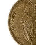 Homer - Greek poet and storyteller. Portrait of Homer, legendary ancient Greek epic poet, author of the Iliad and Odyssey, a detail of 50 drachma circulated coin Stock Photos