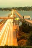 Homer M Hadley Memorial Bridge över sjön Washington i Seattle arkivbild