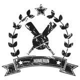 Homerun. Grunge  image of two baseball bats and a baseball Royalty Free Stock Photo