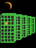 Homes. Five homes and moon on black background Royalty Free Stock Photography