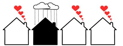 Homes. An illustration of three happy homes Royalty Free Stock Image