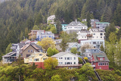 Homes on Alaskan Hillside Royalty Free Stock Images
