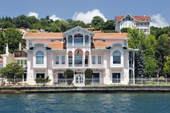 Homes along the Bosporus Turkey Stock Images