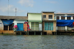 Homes along Mekong River Vietnam Stock Image