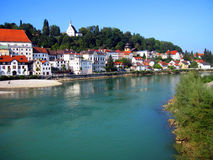 Homes on the bank of Enns River. Small cozy homes on the bank of Enns river in Steyr, Austria Stock Photography