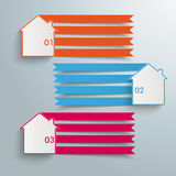 3 Homes 4 Banners. Infographic design on the grey background Stock Images