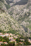 Homes at Base of Mountain on Coast of Montenegro Royalty Free Stock Images
