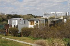 Homes by beach at Bognor Regis. UK Royalty Free Stock Photography