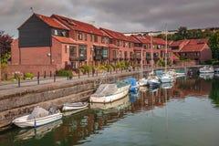 Homes in Bristol harbor Stock Photos