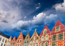 Homes of Brugge. Bruges skyline, Belgium Royalty Free Stock Photos