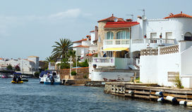 Homes and canals at residential marina. Empuriabrava Stock Photo