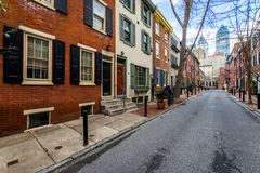 Homes in center city west in philadelphia pennsylvania during sp Royalty Free Stock Image