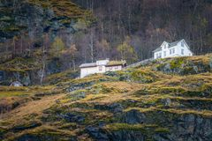 Homes on a cliff Stock Photo