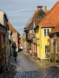 Homes on cobbled streets in Ribe, Denmark Royalty Free Stock Photography