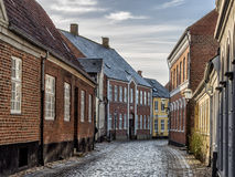 Homes on cobbled streets in Ribe, Denmark Stock Images