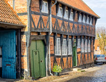 Homes on cobbled streets in Ribe, Denmark Stock Image
