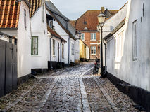 Homes on cobbled streets in Ribe, Denmark Royalty Free Stock Photos