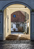 Homes on cobbled streets in Ribe, Denmark Royalty Free Stock Images