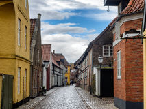 Homes on cobbled streets in Ribe, Denmark Stock Photo