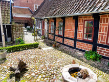 Homes on cobbled streets in Ribe, Denmark Stock Photos