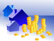 Homes_and_coins Royalty Free Stock Images
