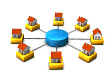 Homes connected to hub Royalty Free Stock Images