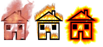 Houses on fire symbols Royalty Free Stock Images