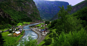 Homes in Flaam Fjord Royalty Free Stock Image