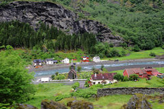 Homes in Flaam Fjord Royalty Free Stock Images
