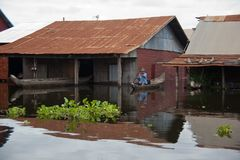 Homes during flood on Tonle Sap Lake Stock Images