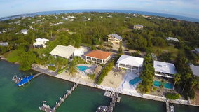 Homes in the Florida Keys aerial stock video