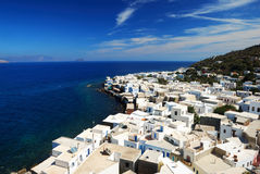 Homes in front of sea. Homes and streets at Nisyros Royalty Free Stock Photography