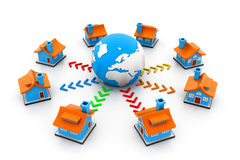 Homes on a global network Stock Image