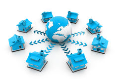 Homes on a global network Stock Photo