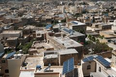 Malta and Gozo 2018. Homes of Gozo, cityscape from above with anrrow streets Stock Photos