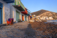Homes on Greek island. Colorful buildings on a Greek island stock photo