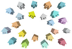 Homes group of 3D houses around copy space Royalty Free Stock Image