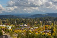 Homes in Happy Valley Oregon during Fall Season. Houses in Happy Valley Oregon suburban neighborhood scenic view during fall season Stock Photo